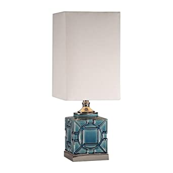 Petite Small Blue Crackled Glaze Ceramic Table Lamp 26 H White