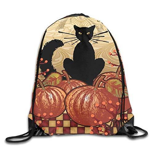 Anticso Rucksack Drawstring Bag Moonlight Cat - Decorative Black Pumpkin Halloween Fall Spooky USA Men & Women Fashion Backpacks Shoulder Bag Laptop Backpack,Sport Gym Sackpack Drawstring Backpack -