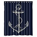 Anchor Shower Curtain Custom Nautical Navy Blue Anchor Shower Curtain Waterproof Polyester Bathroom 72x72inch