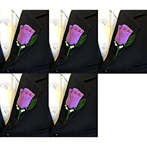 Angel Isabella Set of 5 Lilac Rosebud Boutonniere with Pin for Prom, Party, Wedding 103