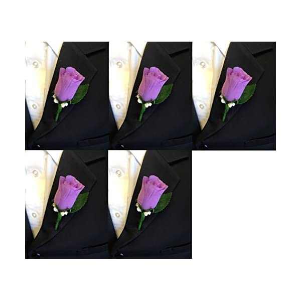 Angel Isabella Set of 5 Lilac Rosebud Boutonniere with Pin for Prom, Party, Wedding