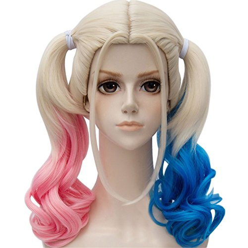 Blue Mixed Pink Fancy Dress for Hollywood Costume Wig Long Hair Wigs With Ponytails