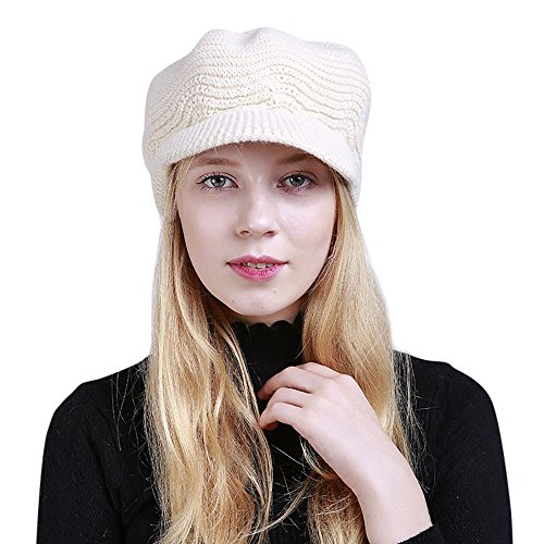 URIBAKE Women's Fashion Peak Crochet Caps Winter Wool Knit Manual Caps Hat Solid Color Warm White