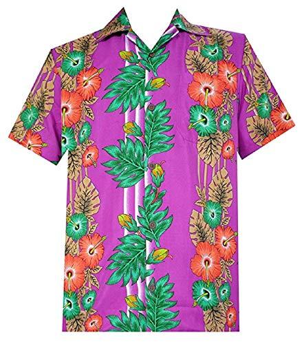 (Alvish Hawaiian Shirt 45 Mens Panel Floral Beach Aloha Party Camp Holiday Purple)