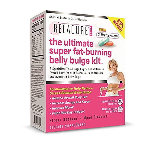 RELACORE® Ultimate Super Fat-Burning Belly Bulge Kit- Dietary Supplement and Two-Pronged Weight-Loss System for Stubborn Stress-Related Belly Fat*, (45 Belly Fat count/60 Fat Burner count)