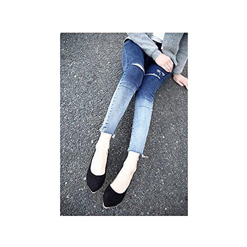 OCHENTA Calzados informales planos de metal de la boca baja zapatos de gran talla Negro