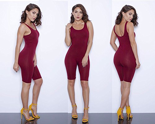 Inpugoz Sexy Women Rompers Solid Bodysuit Overalls Summer 2016 Cotton Bodycon Strapless Jumpsuit Backless Dungarees Woman Playsuit (XL, Red Wine)