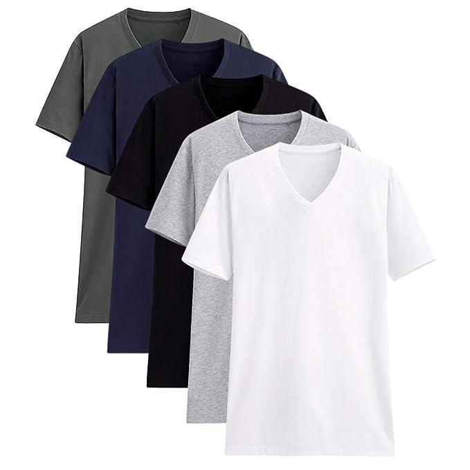 d71266a16d Camisetas para Hombre Manga Corta Cuello en V Algodón Camisetas Básicas de  Colores Diferentes Paquete de 2 o de 5: Amazon.es: Ropa y accesorios
