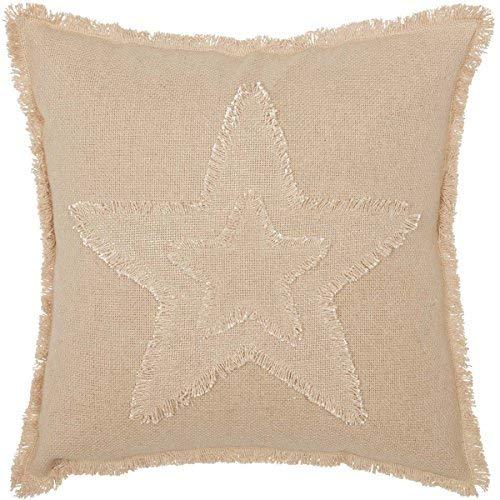 VHC Brands Farmhouse Holiday Pillows & Throws - Burlap Vintage Star White 18