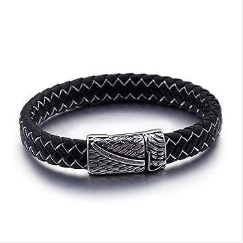 Boucle Ailes Inoxydable Cuir Bracelet Motif Homme En Acier