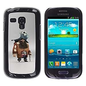 YOYOYO ( NO PARA S3 i9300 ) Smartphone Protección Defender Duro Negro Funda Imagen Diseño Carcasa Tapa Case Skin Cover Para Samsung Galaxy S3 MINI I8190 I8190N - carácter cráneo del pirata capitán en juego pc