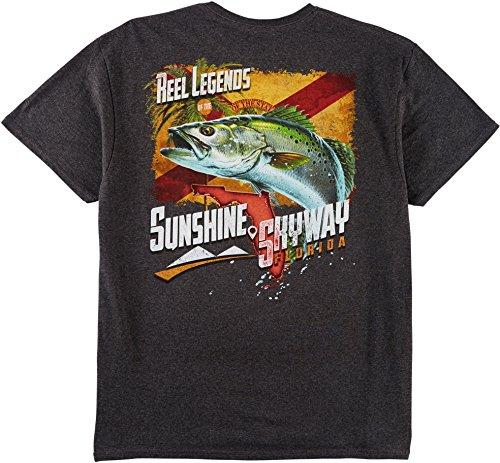 Reel Legends Mens Sunshine Skyway T-Shirt Small Charcoal Heather Grey (Sunshine Legend)