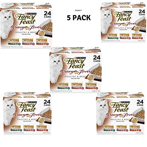 Fancy Feast Gravy Wet Cat Food Variety Pack; Gravy Lovers Poultry & Beef Feast Collection - (24) 3 oz. Cans, 5 Pack