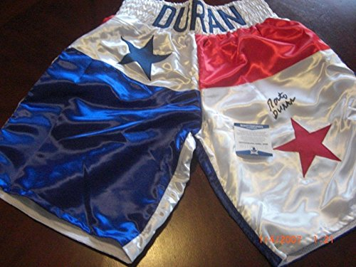 (Roberto Duran Boxing Champ Blue/red Star Beckett/coa Signed Boxing Trunks - Beckett Authentication - Autographed Boxing Robes and Trunks)