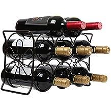 Finnhomy 6 Bottle Wine Rack with Flower Pattern, Wine Bottle Holder Free Standing Wine Storage Rack, 2-way Storage Original Design (Patent Pending), Iron, Brozen