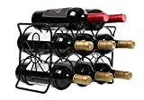 Finnhomy 6 Bottle Wine Rack with Flower Pattern, Wine Bottle Holder Free Standing Wine Storage Rack, 2-way Storage Original Design (Patent Pending), Iron, Brozen