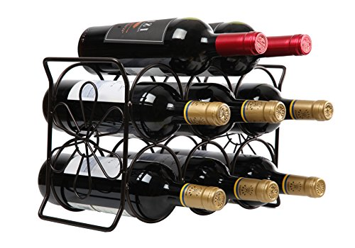 Finnhomy 6 Bottle Wine Rack with Flower Pattern, Wine Bottle Holder Free Standing Wine Storage Rack, 2-way Storage Original Design (Patent Pending), Iron, Brozen (Tabletop Wine Rack Metal)