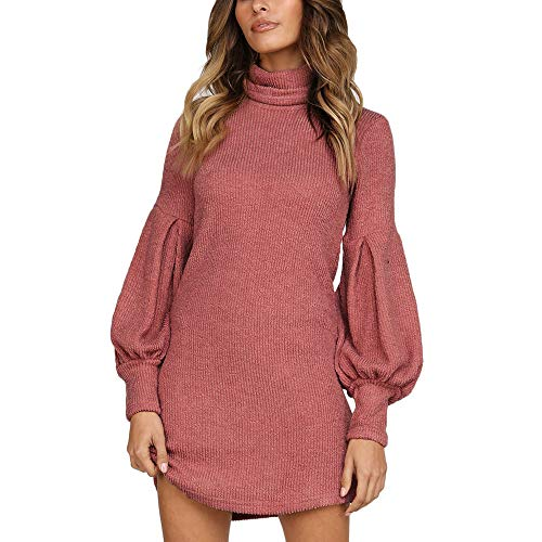 VEZAD Women Knitting Long Sweater Long Sleeve Solid O-Neck Sweater Tops
