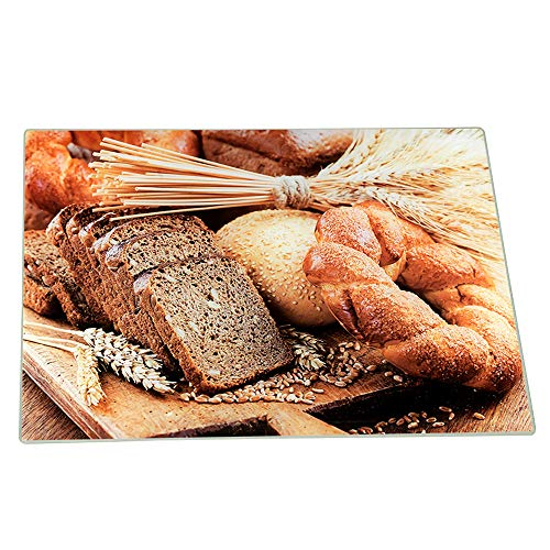 Challah Cutting Board and Tray - Tempered Glass with Beautiful Painted Shabbat Pattern and Design - by The Kosher Cook