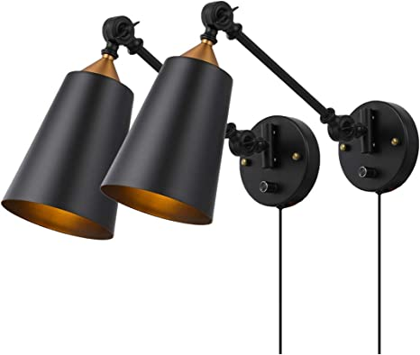 Amazon Com Pauwer Industrial Plug In Wall Sconces Set Of 2 With On Off Switch Vintage Edison Swing Arm Wall Lamp Black Metal Shade Wall Light Fixtures Home Improvement