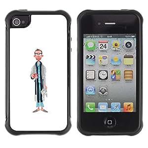 Be-Star único patrón Impacto Shock - Absorción y Anti-Arañazos Funda Carcasa Case Bumper Para Apple iPhone 4 / iPhone 4S ( Dad Portrait Caricature Man Glasses Art )
