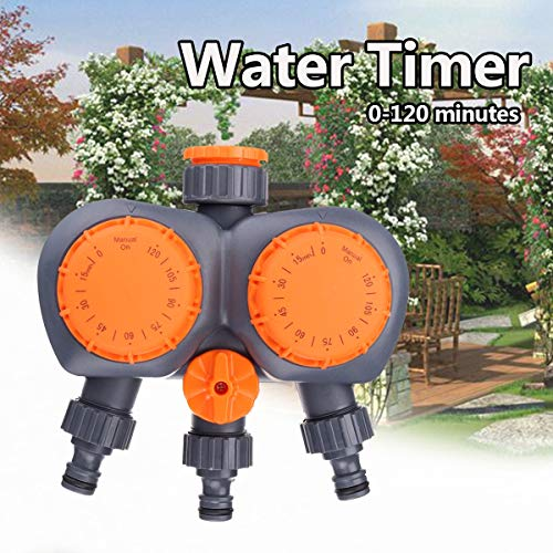Hose Water - 2 Head Automatic Electronic Water Timer Valve Mechanical Timing Flow Switch Garden Irrigation - Garden Timers Programmable Controller Solar Timer Orbit Water]()