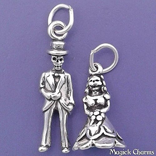 925 Sterling Silver 3-D Skeleton Bride Groom Wedding Small Halloween Charm Set Jewelry Making Supply, Pendant, Charms, Bracelet, DIY Crafting by Wholesale Charms -