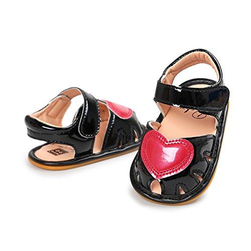 Sandalías de bebé Sandía agradabel para nenas Zapatos en verano para bebé Suela suave y antideslizantes Negro