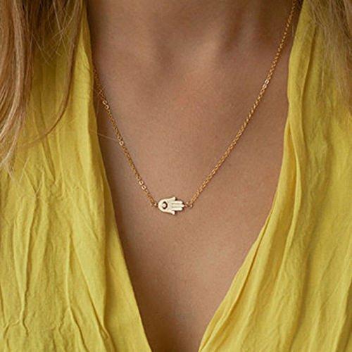 Fashion Women Hamsa Fatima Hand God Evil Eye Pendant Gold Silver Chain Necklace