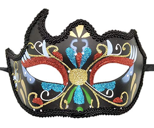 Womens Day of The Dead Masquerade Mask Venetian Party Mask Halloween Costumes Mardi Gras Mask (O Black/Colorful) ()