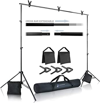 Tall Background Stand Backdrop Support System Kit Carry Bag 10 ft Wide Cross Bar