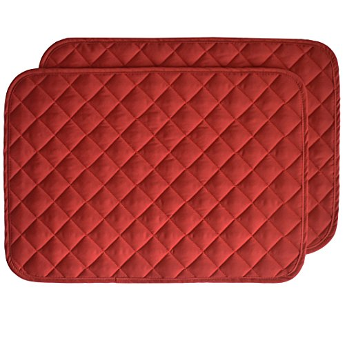 (Set of 2 - Solid Red Quilted Rectangle Placemat)