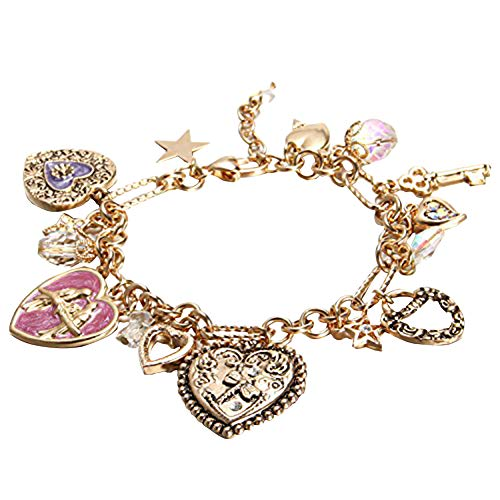 Yoshine(TM) 14k Real Gold Plated Pendant Series Charms Bracelet for Kids Girls Jewelry (Heart)