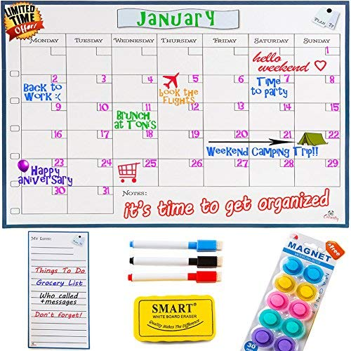 Monday to Sunday Dry Erase Magnetic Calendar Whiteboard - 1612' Monthly Refrigerator Calendar...