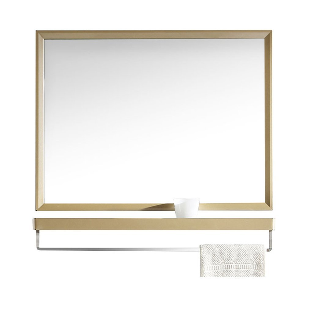 Wall-Mounted Washable Mirror with Shelf Stainless Steel Bathroom Makeup Mirror (Color : Gold, Size : 70 * 60cm) Shariv