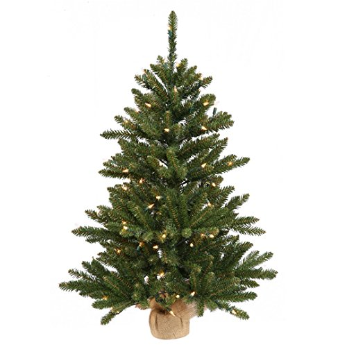 Vickerman B160443 Pine Artificial Christmas Tree with 484 PVC tips & 150 Dura-Lit Mini Lights in a Burlap base, 42