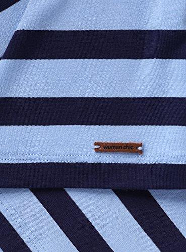 oodji Collection Mujer Camiseta Ancha de Viscosa Azul (7079S)
