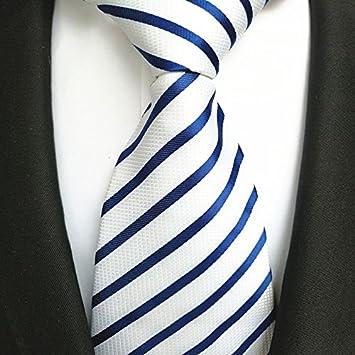 FYios - Corbata de Rayas Azul y Blanco, Corbata de Moda para ...