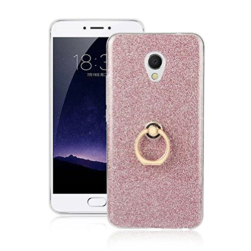 Meizu MX6 Case,Gift_Source [Ring Holder Kickstand] [Anti-Shock] Flexible Gel TPU Rubber Soft Silicone Bling Glitter Sparkle Back Case Shock-Absorption Bumper Cover for Meizu MX6 5.5 inch [Pink]