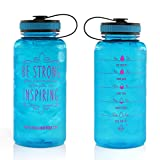34oz Motivational Bottle Fitness Workout Sports Water Bottle with Unique Timeline | Measurements | Goal Marked Times For Measuring Your Daily Water Intake, BPA Free Non-toxic Tritan (aqua)