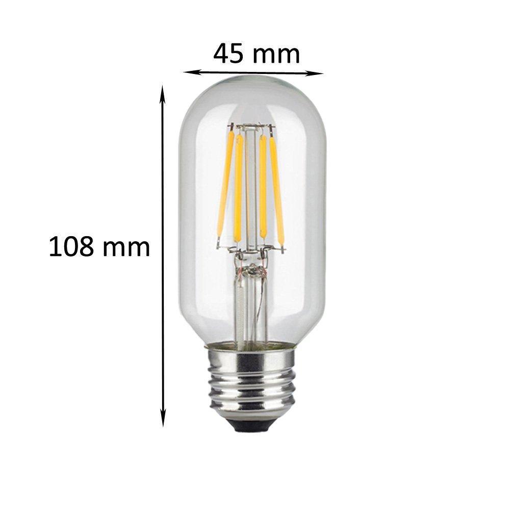 6 Pakete T45 4W LED Filament R/öhre Leuchtmittel Vintage Non-Dimmbar,KINGCOO Antik Edison Birne Lampe E27 Medium Base,40W Gl/ühlampe Ersatz,2700 K warmwei/ß