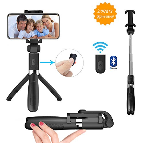 Bluehorn Selfie Stick Bluetooth, Extendable Selfie Stick with Wireless Remote and Tripod Stand Selfie Stick for iPhone X/iPhone 8/8 Plus/iPhone 7/iPhone 7 Plus/Galaxy Note 8/S9/S9 Plus/S8