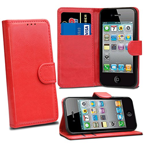 - iPhone 4 4S - Red Premium Leather Flip Wallet Case Cover Pouch For iPhone 4 4S With Screen Protector