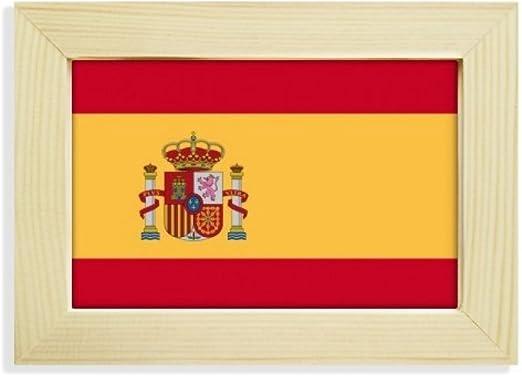 DIYthinker España Nacional a la Bandera Europa País de Escritorio de Madera Marco de la Foto del Arte Pintura 5X7 Pulgadas: Amazon.es: Hogar