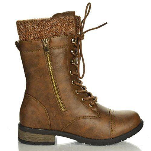 Forever Link Womens Mango-31 Round Toe Military Lace Up Knit Ankle Cuff Low Heel Combat Boots PTAN 10]()