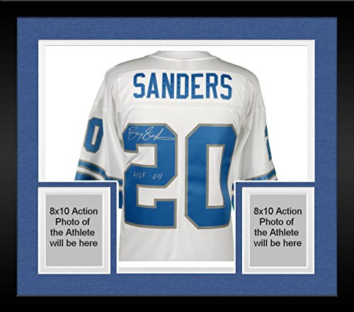 913b4be06 ... Black Amazon.com Framed Barry Sanders Detroit Lions Autographed White Mitchell  Ness Replica Jersey with ...