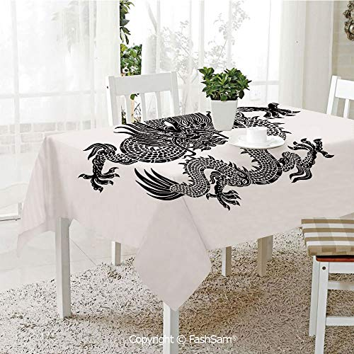 AmaUncle Party Decorations Tablecloth Ancient Fantasy Figure Art Symbolic Character Monochrome Design Decorative Table Protectors for Family Dinners (W55 xL72) ()
