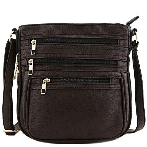 Multi Zipper Pocket Expandable Crossbody Bag Brown Brown Expandable Bag