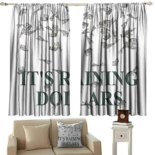 navy blue curtains Funny,Its Raining Dollars United States Hundred Money Symbol Funny Lover Rich People Icon Home Decor Accent Washable,Gray White Dark Green 72