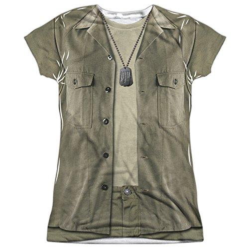 70s Tv Shows Costume Ideas (Mash Hawkeye Costume (Front Back Print) Juniors Sublimation Shirt White LG)